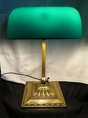 Antique Emeralite #8734G Double Knuckle Desk Bankers Lamp Green Cased Shade
