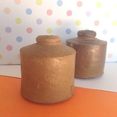 2 Antique Australian Pottery Handmade Stoneware Penny Ink Wells Bottles Jars
