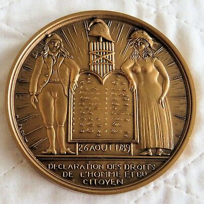 BICENTENNIAL OF THE FRENCH REVOLUTION 76mm BRONZE MEDAL - citizens rights