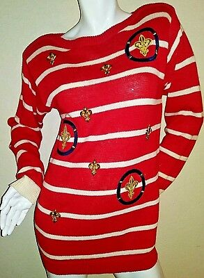 VTG Womens Red Sweater Nautical Art Deco by Spree International SMALL 1990s