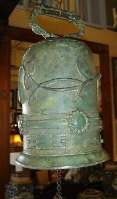 Antique Chinese Solid Bronze Large Temple Bell Gong Buddhist Buddha Very Ornated