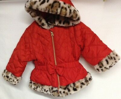 Pistachio Toddler Girls 12 Month Coat Red Leapord Print
