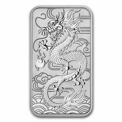 2018 Dragon 1oz .999 Silver Rectangle $1 Coin by Perth Mint in CAPSULE