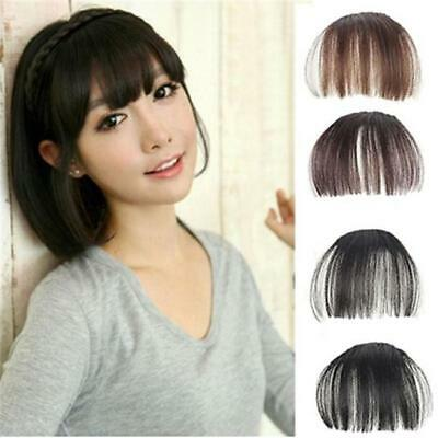 Natural Straight Hair Extension Clip In Front Hair Bangs Fringe For Women MA