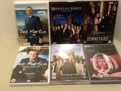 Lot of 6 British DVD Series Doc Martin, Downton Abbey, Upstairs Downstairs, Emma