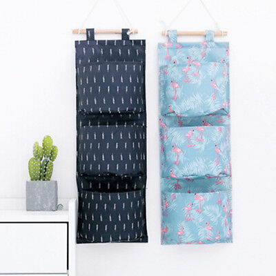 Home Bedroom Closet Door Hanging Storage Bags Organizer 3 Pockets Pouch MA