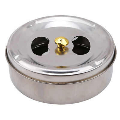 Cigar Cigarette Ashtray Barrel Stainless Steel Lid Rotation Closed Turn Ash Tray
