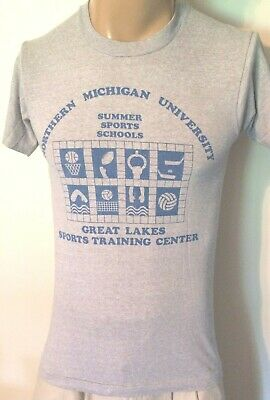 TRUE VTG 1980's NORTHERN MICHIGAN SUMMER SPORTS SCHOOL 50/50 THIN T-SHIRT SMALL