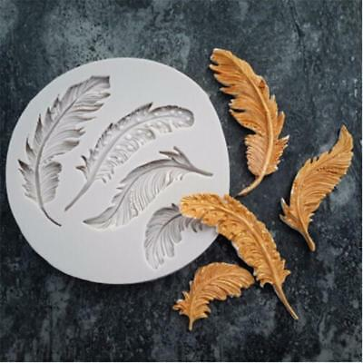 DIY Feather Silicone Fondant Mold Chocolate Mould Cake Decorating Tools MA