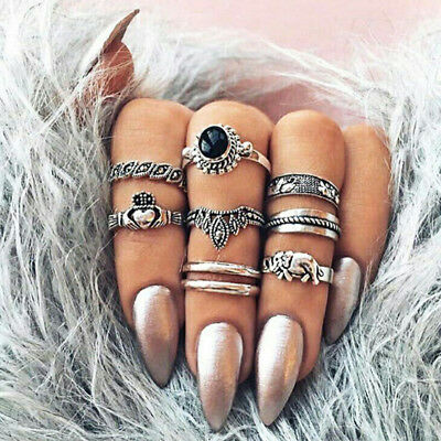 Bohemian Style Elephant Thumb Finger Knuckle Rings Women Jewelry Set MA