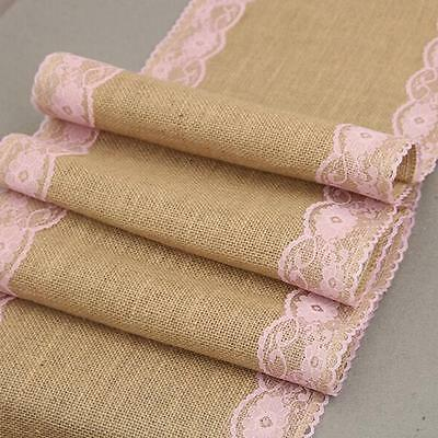 Lace Natural Burlap Jute Hessian Table Runner Cloth For Wedding Party Decor MA