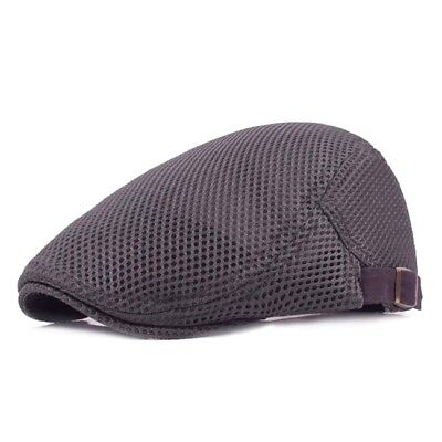 Adjustable Mens Summer Breathable Mesh Beret Hiking Flat Hat Casual Cap MA
