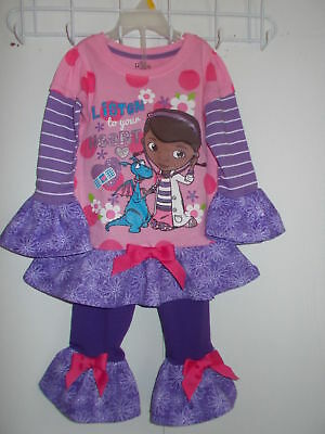 e6e95c9945c2 NEW TODDLER GIRLS Doc Mcstuffins Outfit Handmade Ruffles Shirt Leggings  Size 3T