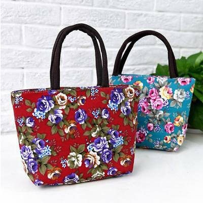 Women Elegant Canvas Flowers Painted Shopping Handbag Tote Shoulder Bag MA