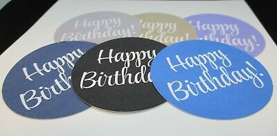 "12 Printed Happy Birthday Sentiment Die Cuts..2""..Stampin Up Colours..cardmaking"