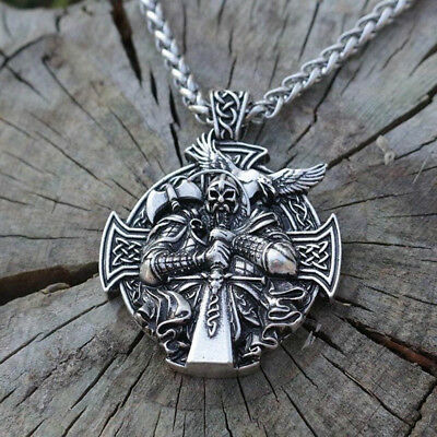 Norse Viking Odin With Sword Raven Cross Pendant Necklace Stainless Steel Chain