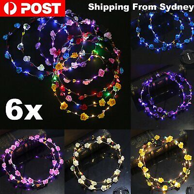 6pcs LED Floral Flower Wreath Hair Band Headband Bohemian Light Up Wedding Party