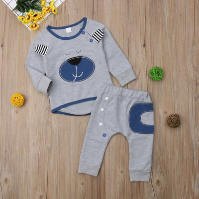 AU Newborn Infant Baby Boy Toddler Casual T-shirt Tops+Pants Outfit Clothes Sets