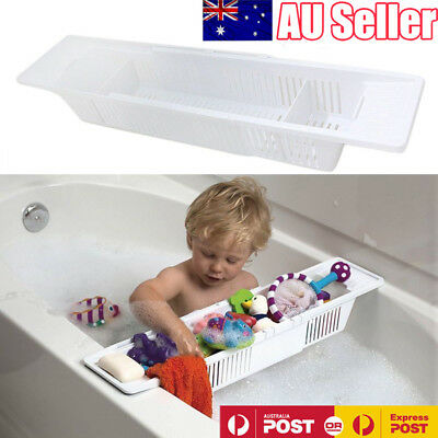 Bath Tub Caddy Toy Organizer Basket Rack Safe White Storage Kids Baby Holder AU