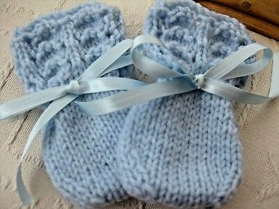 Lovely Hand Knitted Baby Mittens In Blue Size New Born (6)