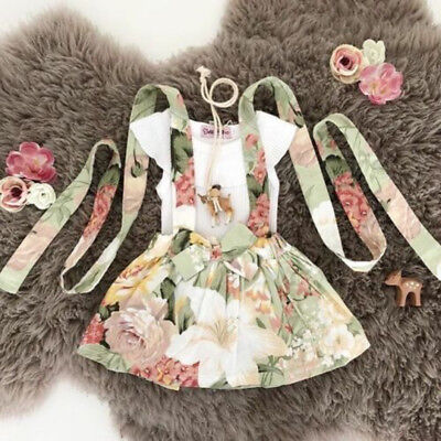 UK Toddler Baby Girls T-shirt Tops Bow-knot Dress Outfit Casual Dresses Summer