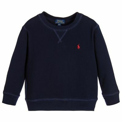 RALPH LAUREN Baby Boy Fleece SWEATSHIRT Top Sweater grey / navy 9 12 18 24M BNWT
