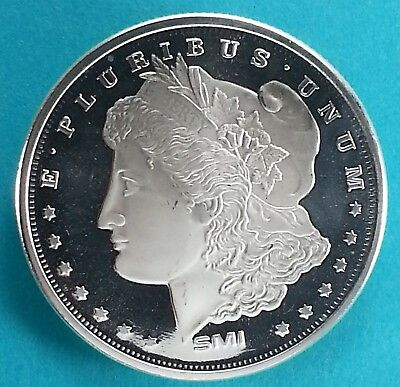 MORGAN DOLLAR DESIGN 1 Troy oz. Art Round .999  Fine Silver  SMI Mint