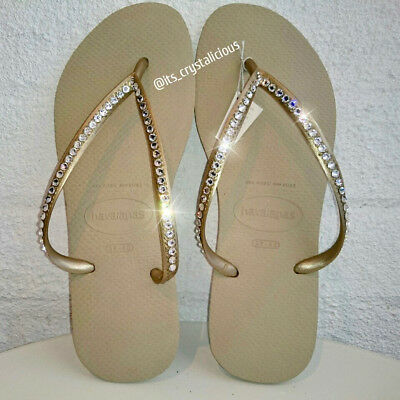 e8be3ed352157a Gold Havaianas embellished with SWAROVSKI Crystal Bling Flip Flops - 1 Row