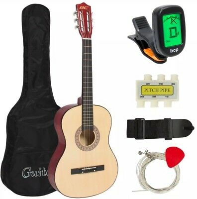 "Beginners Guitar Acoustic Cutaway Set Bonus Case Tuner 38"" Clearance"