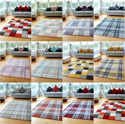 Small Large Modern Soft Thick Tartan Highland Check Rugs Long Hall Runner Mats