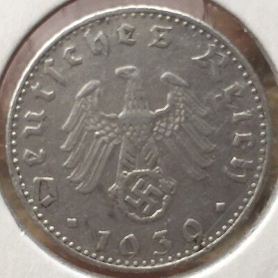 > was £50! Real 1939 NAZI GERMANY THIRD REICH 50 REICHSPFENNIG PFENNING COIN WW2