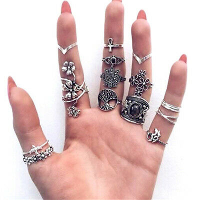 14 Pcs/Set Boho Vintage Style Women Knuckle Ring Jewelry Ladies Accessories MA