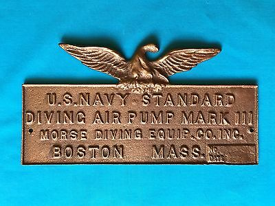 Vintage Brass Plaque Eagle Air Pump Wood Box Diving Helmet US NAVY MORSE Diver