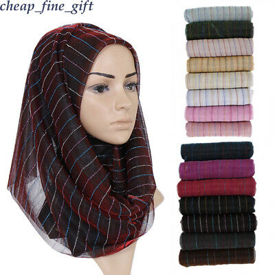 Lurex Stripe Scarf Muslim Headwear Women Wrap Shawl Long Scarves Shayla Hijab