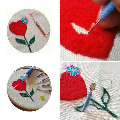 Magic Embroidery Pen Punch Needles Set Craft Tool DIY Easy Use Apply to Clothing