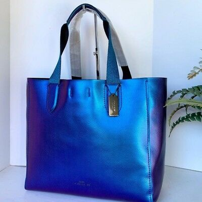 COACH LARGE DERBY HOLOGRAM METALLIC PEBBLE LEATHER TOTE F59388 Authentic 98b3f4111f79e
