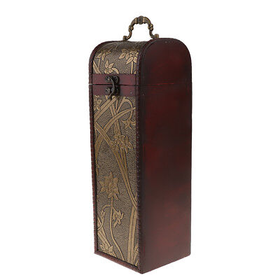 Lovoski Vintage Antique Wooden Wine Box Wedding Wine Gift Box- B