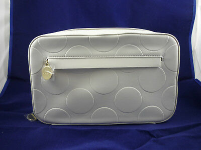 Estee Lauder White Pebble Large Makeup Cosmetic Zippered Bag Clutch New