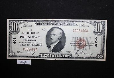 West Point Coins ~ 1929 National Currency #608 $10 National Bank Of Pottstown PA