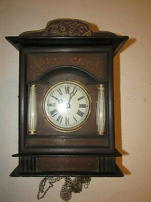 Antique Black Forest Weights Driven Wall Clock For Parts/Project