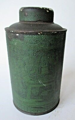 "antique Chinese CANISTER primitive OLD dry GREEN PAINT 5"" SPICE tin CADDY tea"