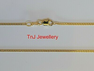 New Solid 925 Sterling Silver Hard 9ct 9k Gold Plated Diamond Cut Curb Necklaces