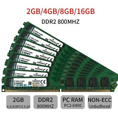 20GB 16GB 8GB 4GB 2GB PC2-6400U PC Desktop DIMM DDR2 800Mhz RAM Per Kingston IT