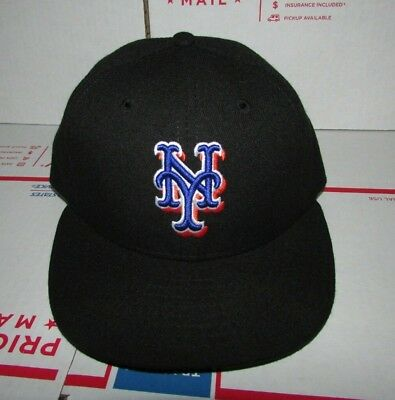 New Era NY Mets Black Fitted Baseball Hat On-field Cap 59Fifty Size 6 7 fd9f2ead4d80