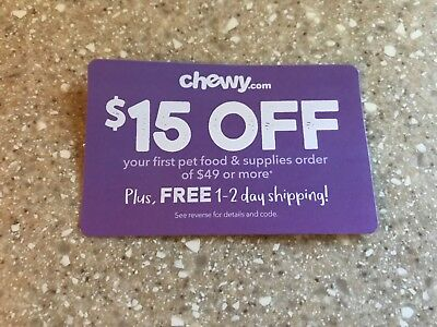 Chewy.com Coupon $15 Off First $49 Order Or More Expires 2/28/19