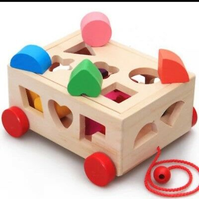 Baby wooden multicolour shapes sorting car