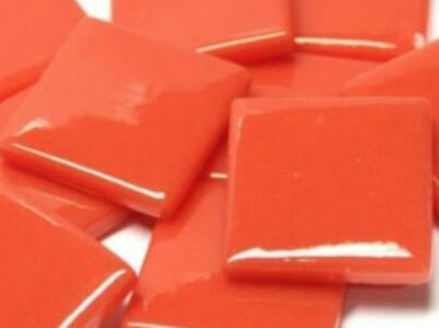 Orange Red Gloss Glass Mosaic Tiles 2.5cm - Art Craft Supplies