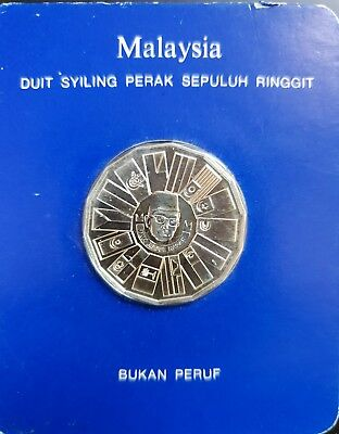 1980 Malaysia 10 Ringgit Silver Coin by Franklin Mint sealed card...