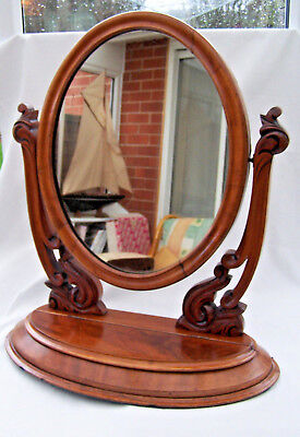Antique Victorian Oval Dressing Table Mirror Light Mahogany Lovely