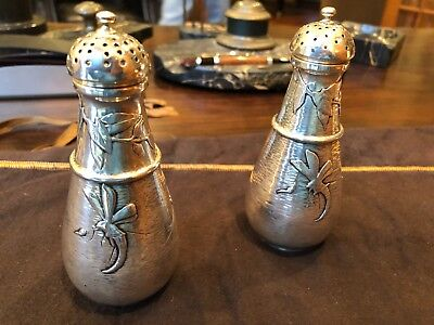 Whiting by Gorham Sterling Silver Hand Hammered Mixed Metal Salt Shakers